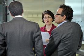 Sarah Lockett interviewing at ITN